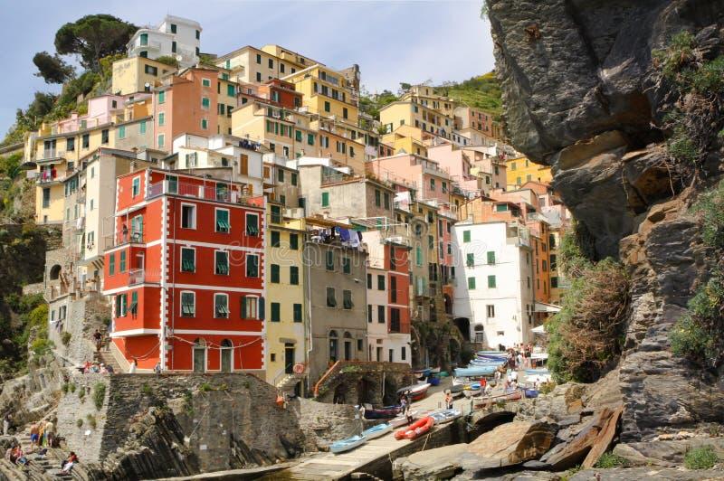 Bâtiments de Riomaggiore Cinque Terre Italy images stock
