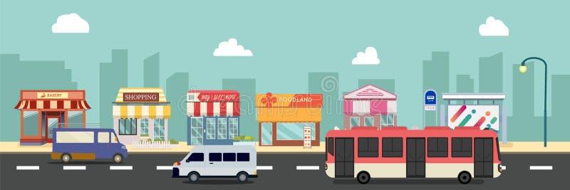 Bâtiments de rue et de magasin de ville avec l'autobus, minibus sur l'illustration de vecteur de rue, une conception plate de sty illustration stock