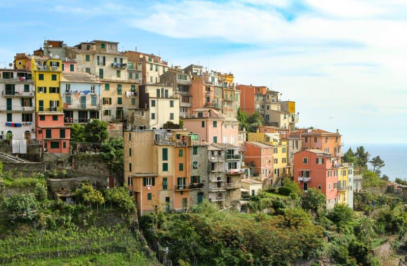 Bâtiments de sommet de Corniglia Cinque Terre Italy image libre de droits