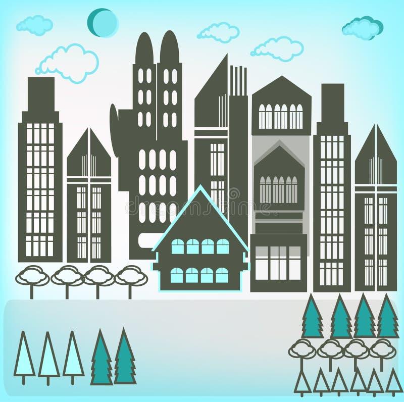Bâtiments de ville illustration stock