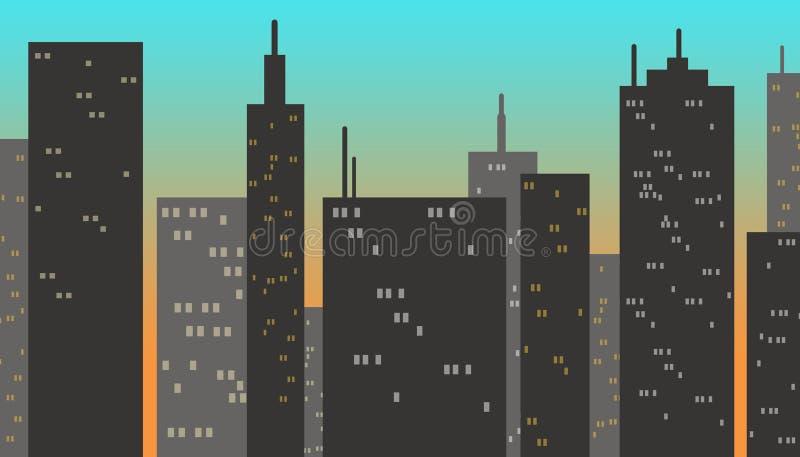 Bâtiments de ville au coucher du soleil illustration de vecteur