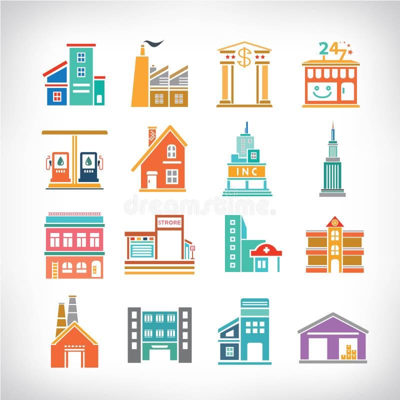 Bâtiments de ville réglés illustration stock