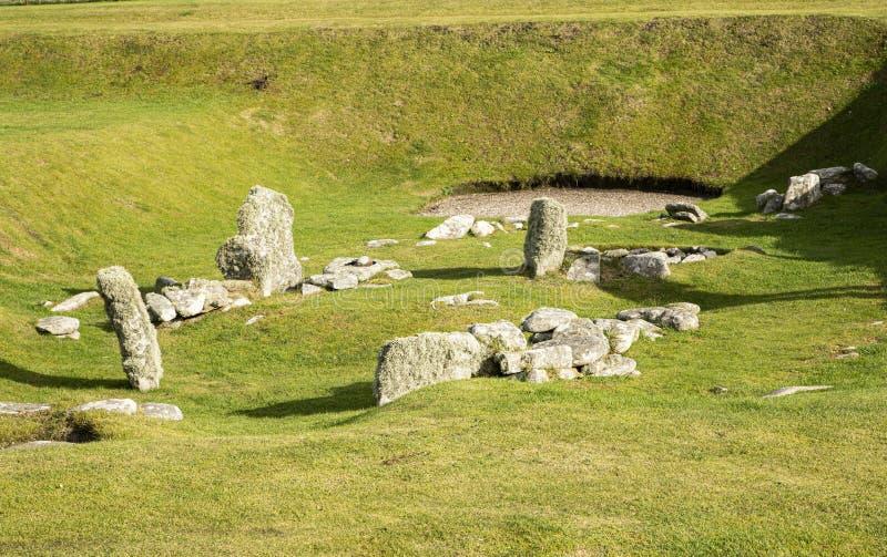 Bâtiments du Néolithique ou de l'âge de pierre à JArlshof, Écosse photo libre de droits