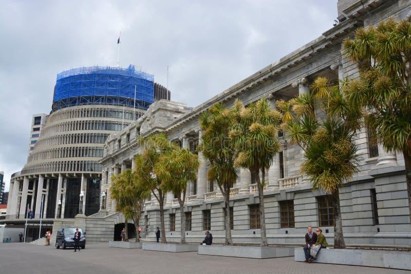 Bâtiments du Parlement et ruche, Wellington New Zealand. photographie stock libre de droits