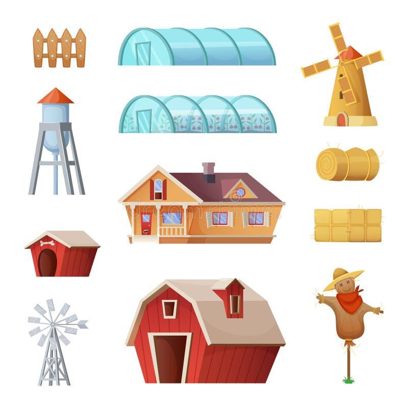 Bâtiments et constructions de ferme réglés Objets de la vie d'industrie et de campagne d'agriculture Conception de l'avant-projet illustration libre de droits