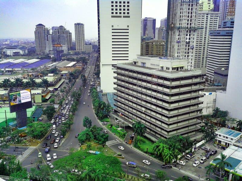 Bâtiments et gratte-ciel dans le complexe d'Ortigas dans la ville de Pasig, Manille, Philippines photo libre de droits