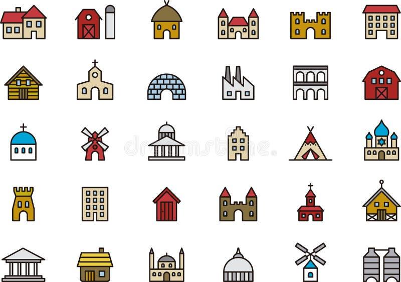 Bâtiments et icônes de construction illustration de vecteur