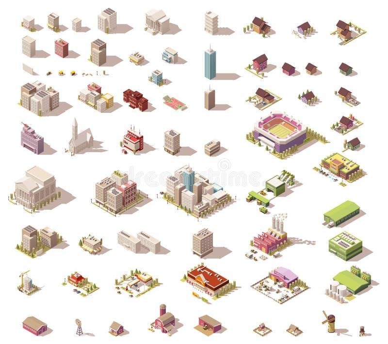 Bâtiments et maisons isométriques de vecteur bas poly illustration de vecteur