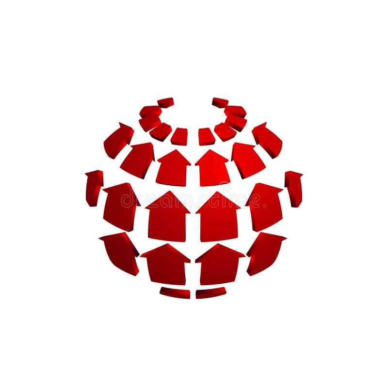 Bâtiments et paysage à la maison Logo Template de globe à la maison illustration libre de droits