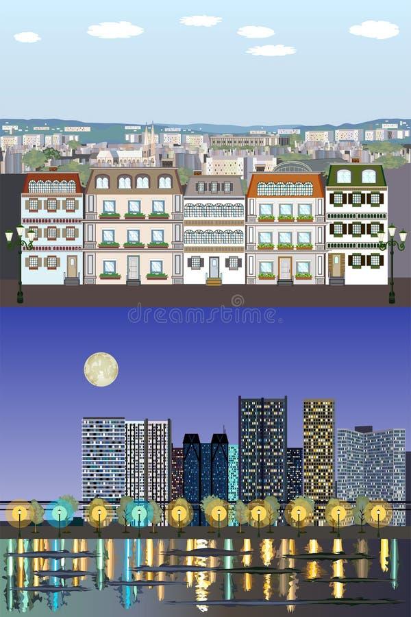 Bâtiments génériques européens de style parisien - jour au kit de vecteur de nuit illustration libre de droits