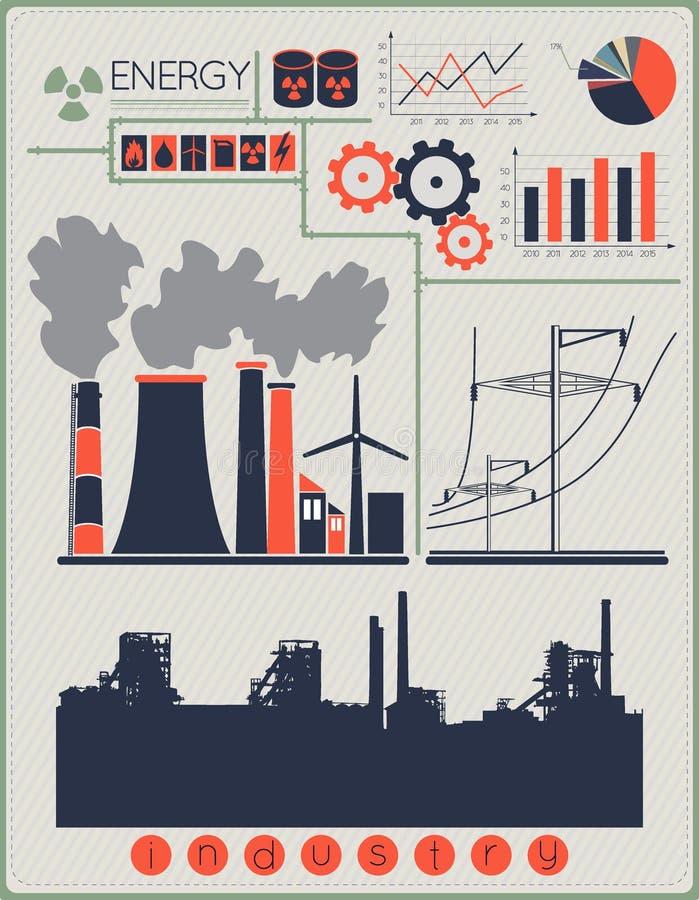 Bâtiments industriels d'usine illustration stock