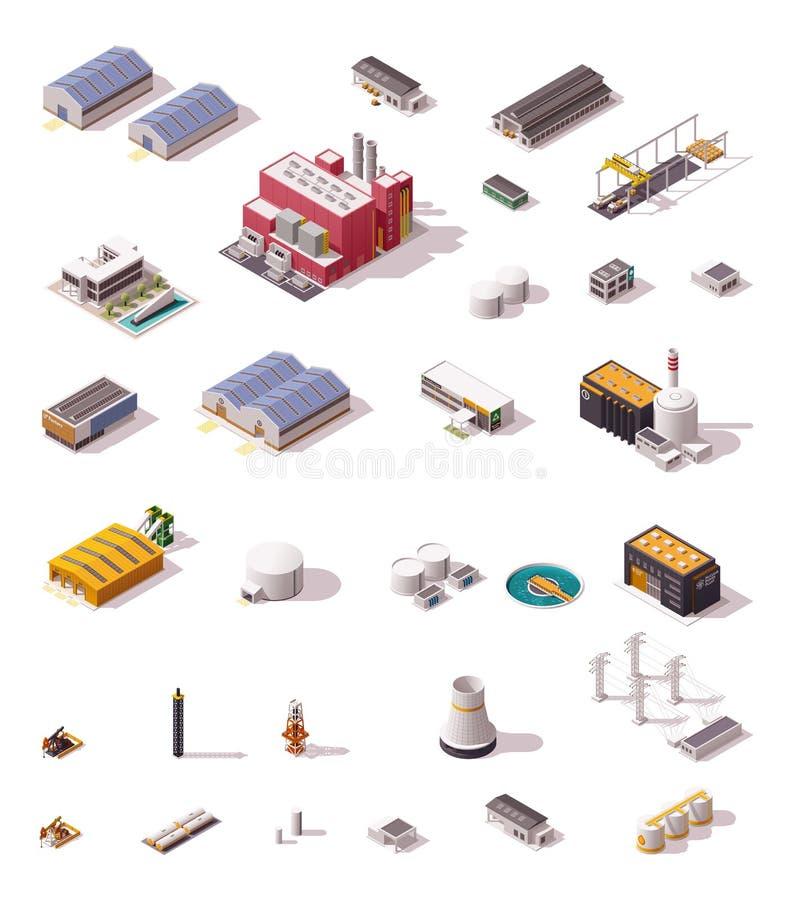 Bâtiments isométriques d'usine de vecteur réglés illustration libre de droits