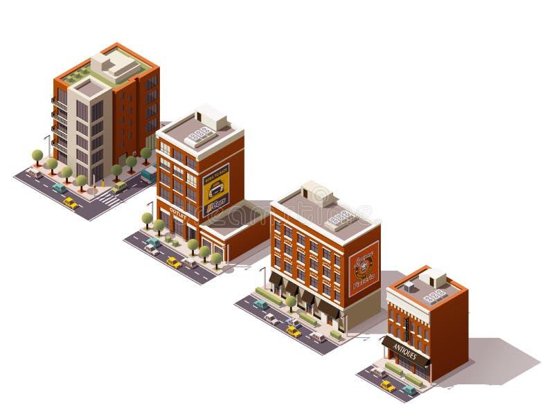 Bâtiments isométriques de vecteur réglés illustration libre de droits