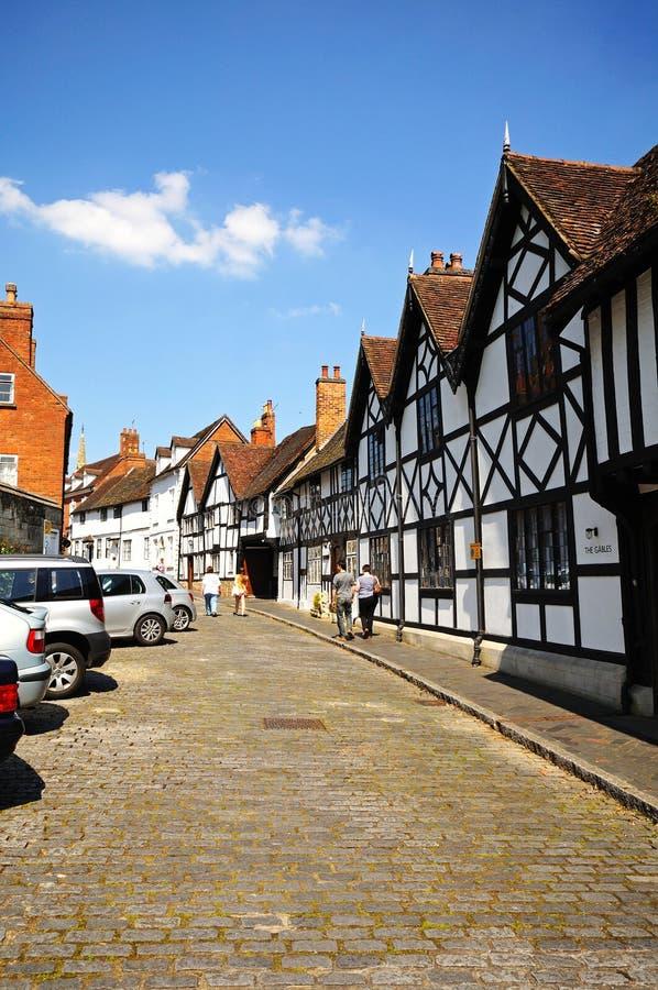 Bâtiments le long de rue de moulin, Warwick photo libre de droits