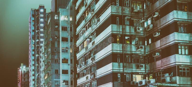 Bâtiments modernes de Hong Kong la nuit photo libre de droits