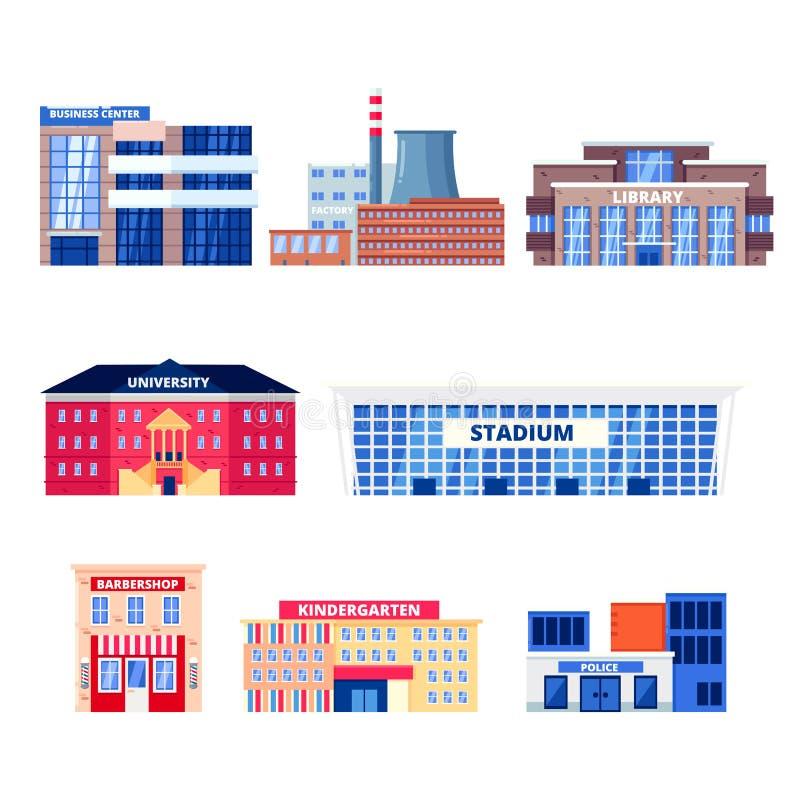 Bâtiments non résidentiels de ville, ensemble d'icônes de vecteur Objets municipaux d'immobiliers d'isolement sur le fond blanc illustration de vecteur