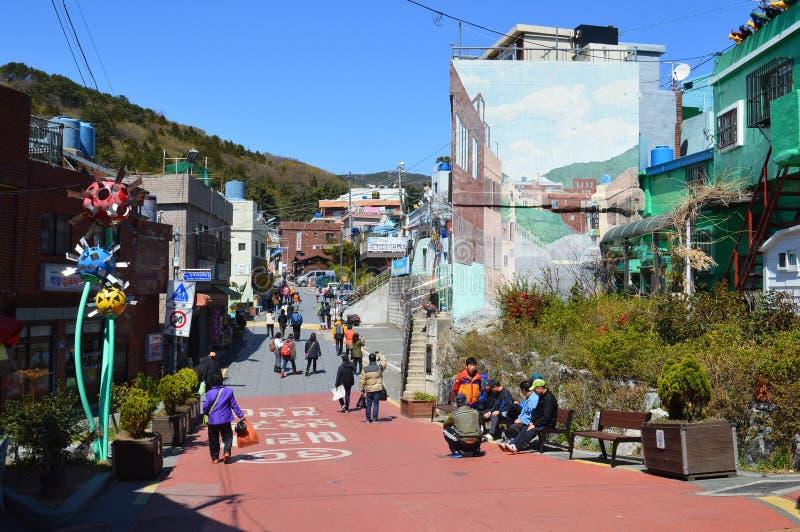 Bâtiments originaux et colorés à Pusan, Corée du Sud images stock