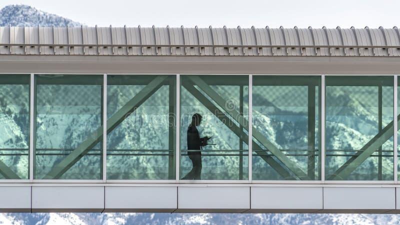 B?timents se reliants de Skyway de panorama clair avec un fond de montagne neigeuse et de ciel nuageux image stock