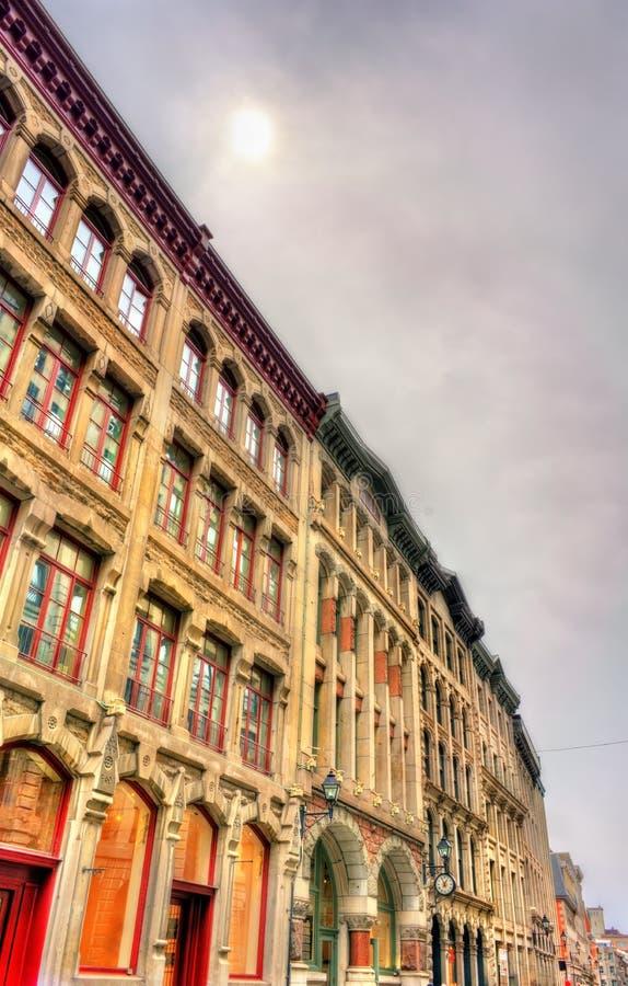 Bâtiments sur la rue de St Paul à vieux Montréal, Canada photographie stock libre de droits