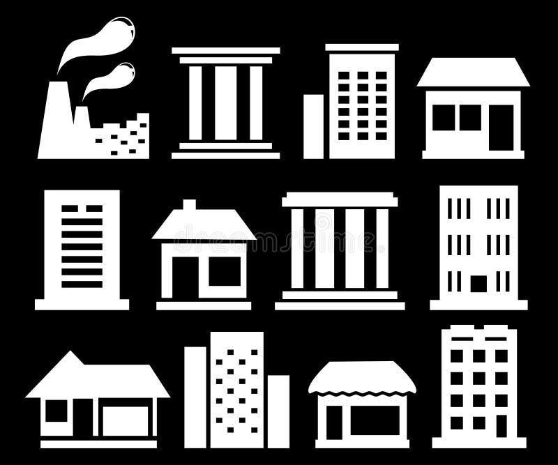Bâtiments urbains blancs réglés illustration stock