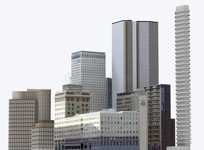 Bâtiments urbains et gratte-ciel d'isolement sur le fond blanc illustration 3D illustration libre de droits