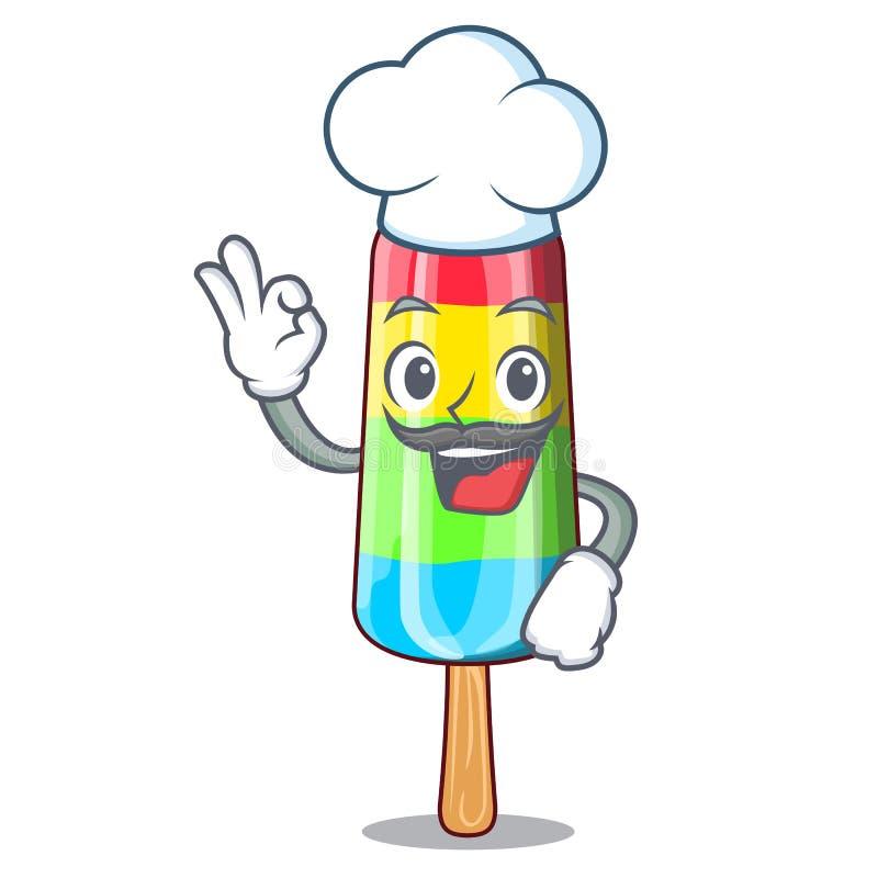 Bâton coloré de crème glacée de boisson de caractère de chef illustration stock