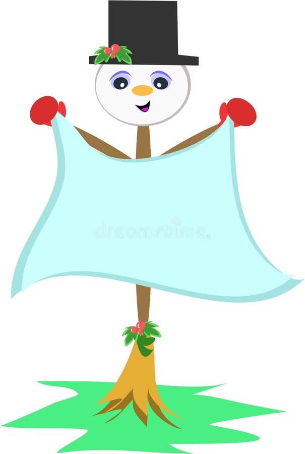Bâton de balai de bonhomme de neige illustration libre de droits