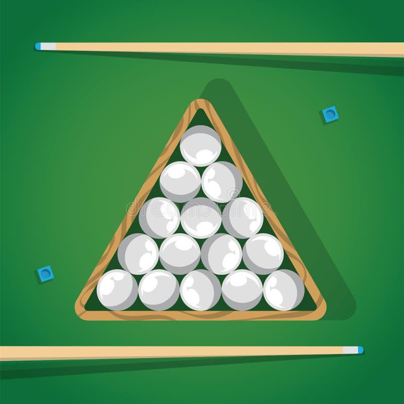 Bâton de billard et boules de piscine blanches dans la triangle sur la table verte pour le jeu Boules, triangle et réplique de Bi illustration libre de droits