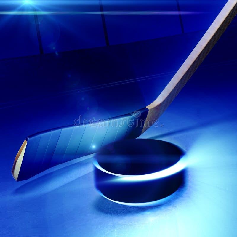Bâton de hockey et galet de flottement sur la patinoire illustration libre de droits