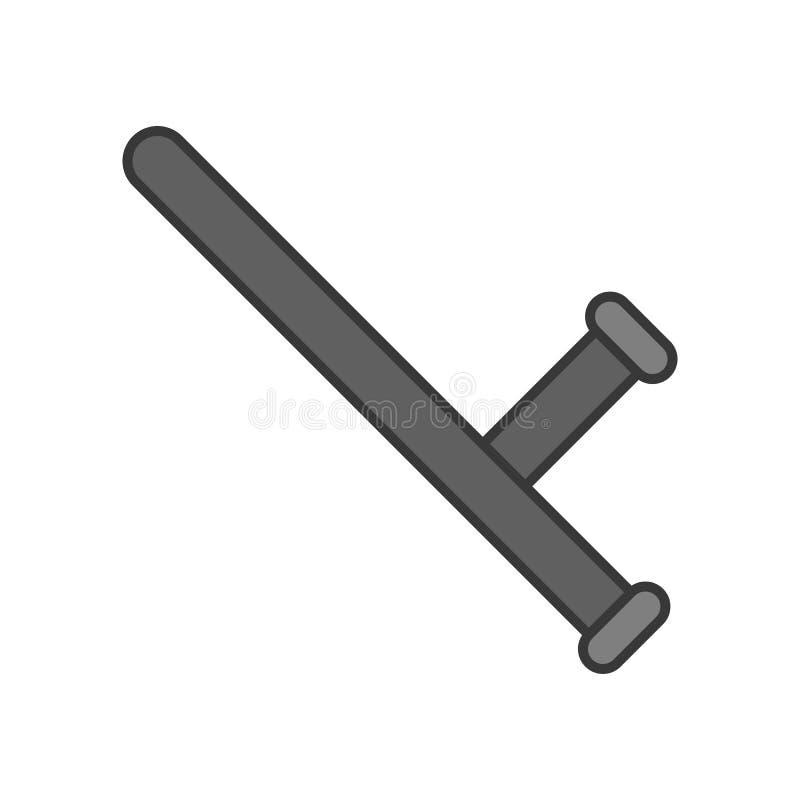 Bâton de police ou bâton de nuit, course editable d'icône relative de police illustration libre de droits