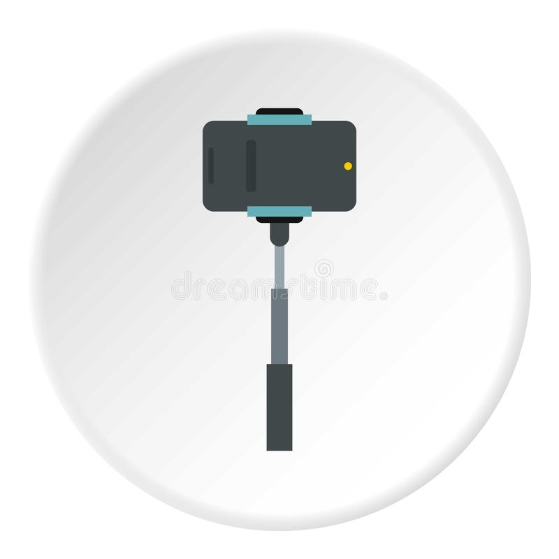 Bâton de Selfie avec l'icône d'appareil-photo de photo, style plat illustration libre de droits
