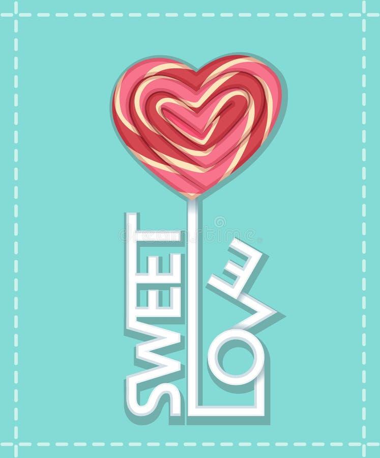 Bâton doux de sucrerie d'amour illustration de vecteur