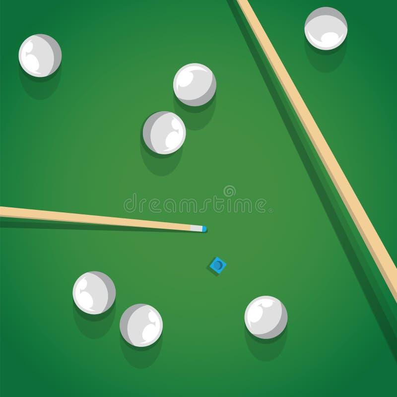 Bâton et boules de piscine sur le jeu vert de moment de table de billard Boules et réplique de Biliard pour le jeu de piscine sur illustration libre de droits
