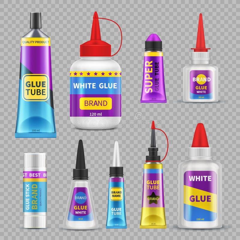 Bâtons de colle Tubes et bouteilles superbes adhésifs de colle Ensemble d'isolement réaliste de vecteur illustration stock