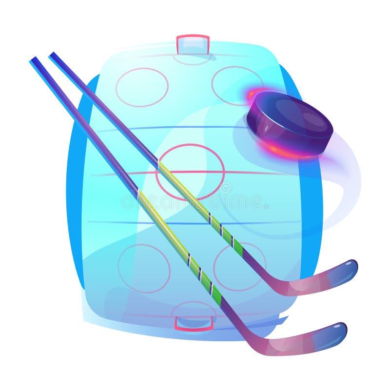 Bâtons de hockey de champ ou de glace et logo en caoutchouc de galet illustration de vecteur