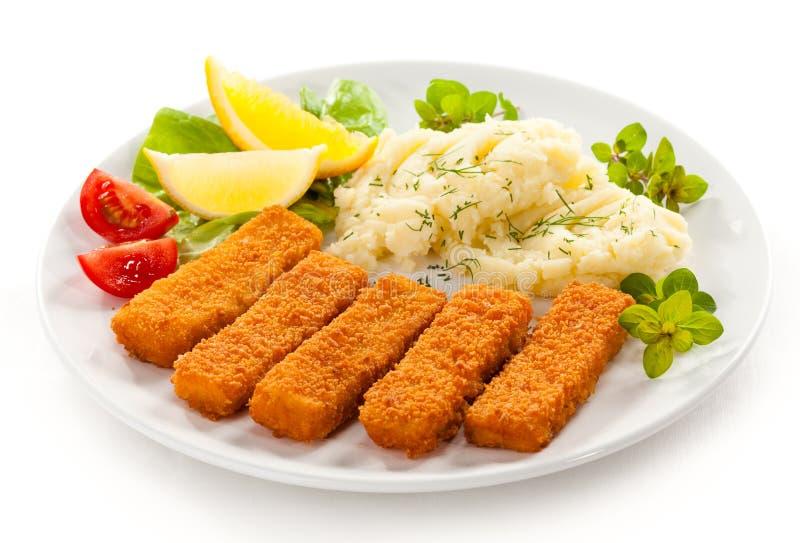 Bâtons de poisson frits photo stock