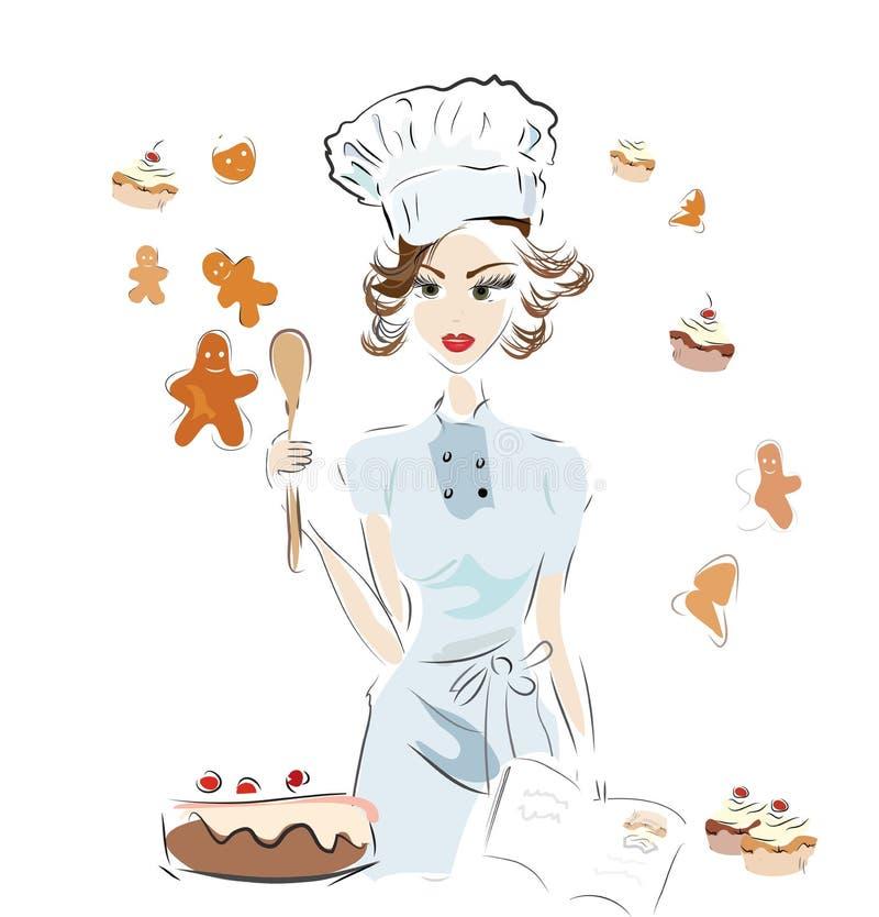 Bäcker Chef mit einem Rezept-Buch stock abbildung