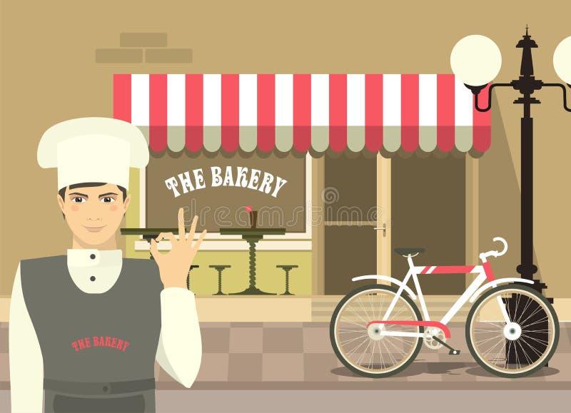 Bäcker In Front Of His Bakery vektor abbildung