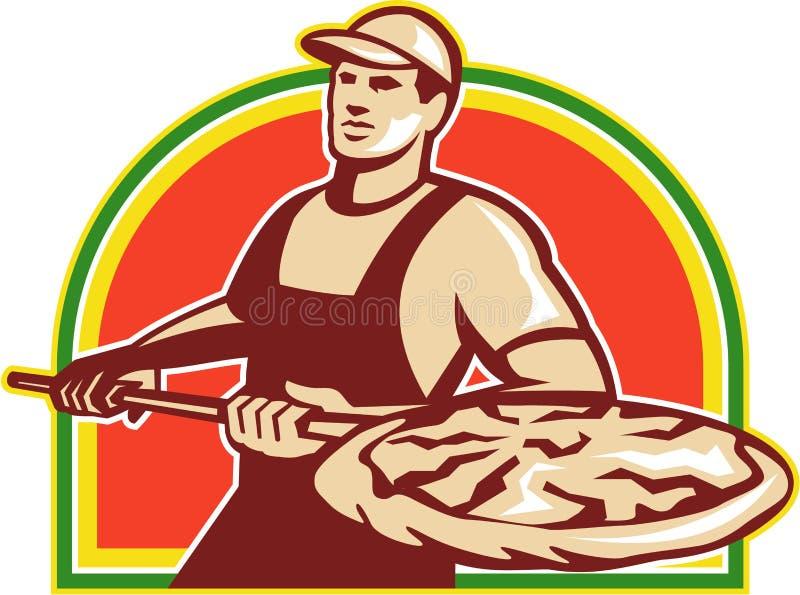 Bäcker-Holding Peel With-Pizza-Torte Retro- stock abbildung