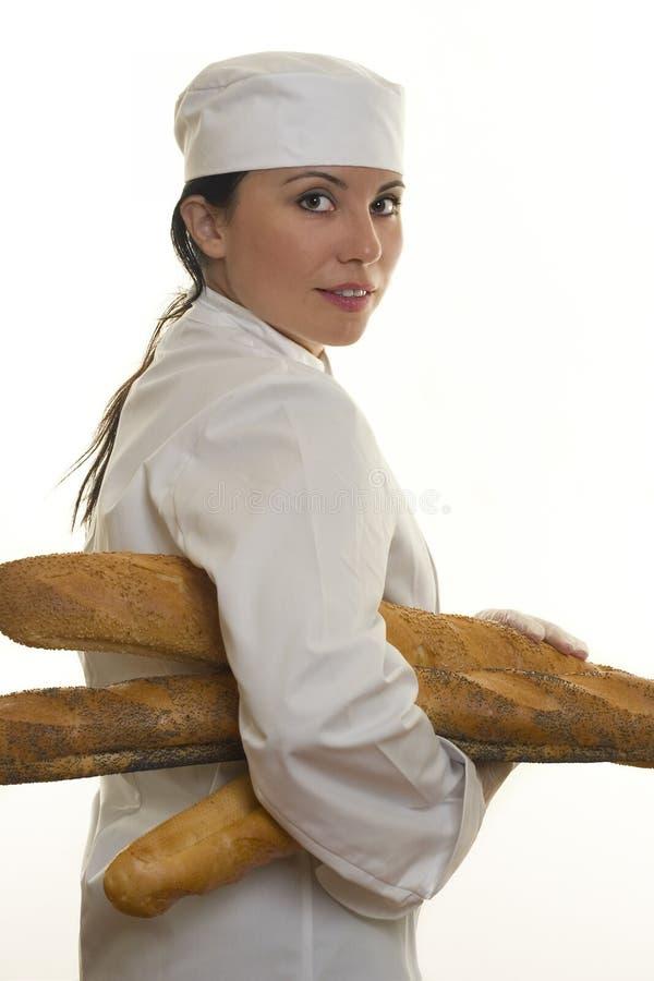 Bäcker mit Brot lizenzfreie stockbilder