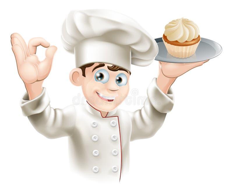 Bäcker mit kleinem Kuchen lizenzfreie abbildung