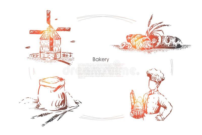 Bäckerberuf, natürliche Brotprodukte, Windmühle, geschmackvolles Backen, langes Laib, süßes Brötchen und Weizenspitze, Bäckereifa lizenzfreie abbildung