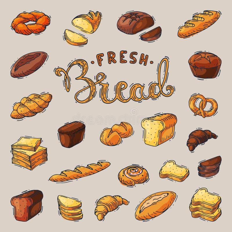 Bäckerei Breadstuffvektorbackenbrotlaib oder -stangenbrot an gebacken vom Bäcker in gesetzter Illustration des Backhauses vektor abbildung