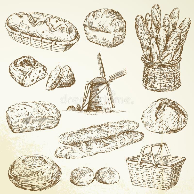 Bäckerei, Brot, Stangenbrot lizenzfreie abbildung