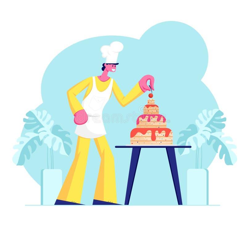 Bäckerei-Chef Character im Uniform-und Kappen-Koch Festive Cake Decorating mit Sahne und in den Beeren Nachtisch für Geburtstag o vektor abbildung