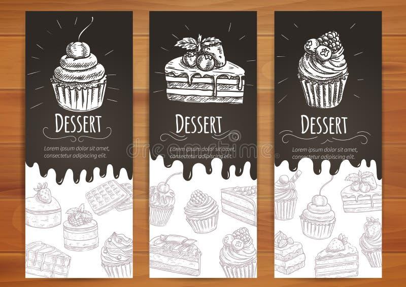 Bäckerei, Süßigkeiten, Gebäck, Nachtischplakat stock abbildung