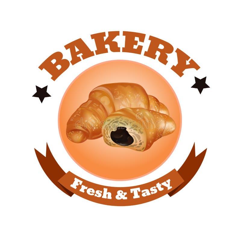 Bäckerei-Shop-Aufkleber-Design Frische und geschmackvolle Nachtische Hörnchen, Bänder und Sterne Auch im corel abgehobenen Betrag vektor abbildung