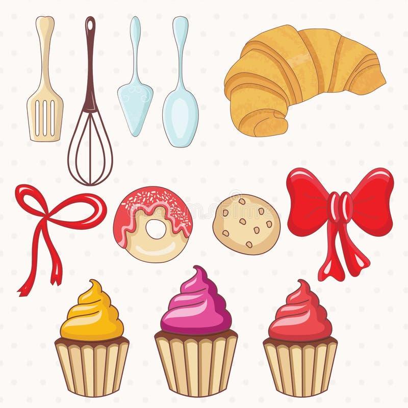 Bäckerei und Kuchen, Küchenteller Vektor lizenzfreie abbildung