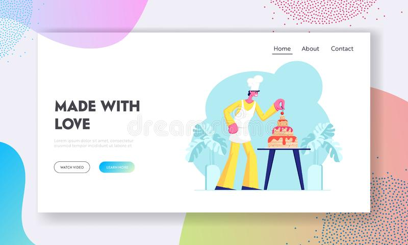 Bäckerei-Website-Landungs-Seite, Chef Character im Uniform-und Kappen-Koch Festive Cake Decorating mit Sahne und in den Beeren vektor abbildung