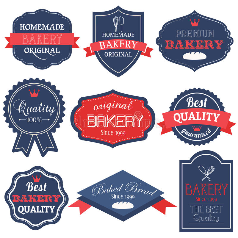 Bäckereiabzeichen und -kennsätze der Weinlese Retro- lizenzfreies stockfoto